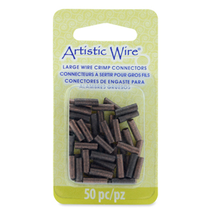 AW Lg Wire Crimp Tubes, 10mm (.4 in), Antique Copper Color, for 12 ga wire, ID 2.2 mm (.086 in), 50 pc