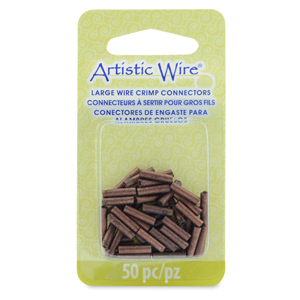 AW Lg Wire Crimp Tubes, 10mm (.4 in), Antique Copper Color, for 14 ga wire, ID 2.0 mm (.078 in), 50 pc