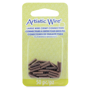 AW Lg Wire Crimp Tubes, 10mm (.4 in), Antique Copper Color, for 16 ga wire, ID 1.5 mm (.059 in), 50 pc