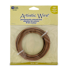 Artistic Wire, 10 Gauge (2.6 mm), Antique Brass, 25 ft (7.6 m)