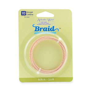 Artistic Wire, 10 Gauge (2.6 mm), Braid, Round, Rose Gold Color, 2.5 ft (.76 m)