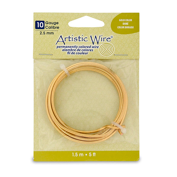 Artistic Wire, 10 Gauge (2.6 mm), Silver Plated, Gold Color, 5 ft (1.5 m)