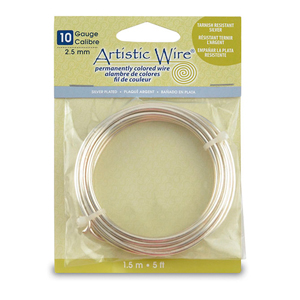 Artistic Wire, 10 Gauge (2.6 mm), Silver Plated, Tarnish Resistant Silver, 5 ft (1.5 m)