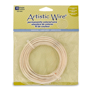 Artistic Wire, 10 Gauge (2.6 mm), Silver Plated, Tarnish Resistant Silver, 25 ft (7.6 m)