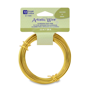 Artistic Wire, Aluminum Craft Wire, 12 Gauge (2.1 mm), Round, Anodized Gold Color, 39.3 ft (12 m)