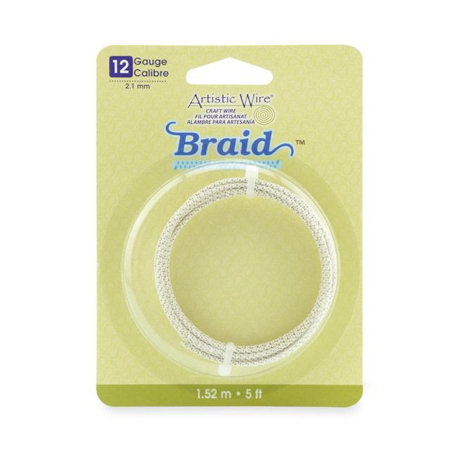 Artistic Wire, 12 Gauge (2 1 mm), Braid, Round, Tarnish Resistant Silver, 5  ft (1 5 m)