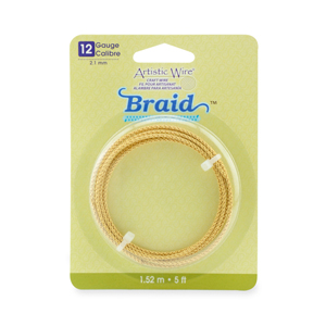 Artistic Wire, 12 Gauge (2.1 mm), Braid, Round, Tarnish Resistant Brass, 5 ft (1.5 m)