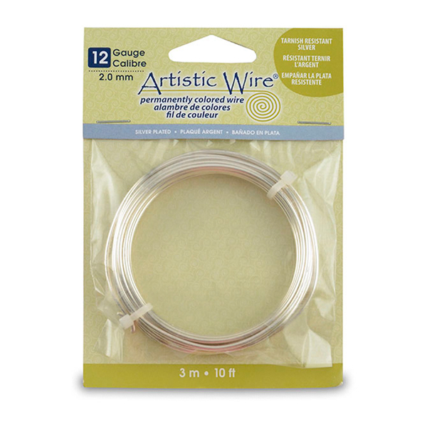 Artistic Wire, 12 Gauge (2.1 mm), Silver Plated, Tarnish Resistant Silver, 10 ft (3.1 m)