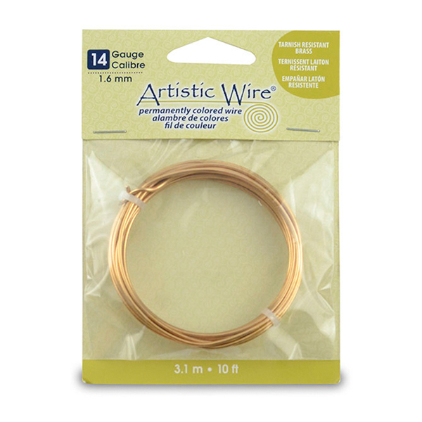 Artistic Wire, 14 Gauge (1.6 mm), Tarnish Resistant Brass, 10 ft (3.1 m)