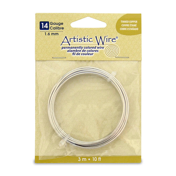 Artistic Wire, 14 Gauge (1.6 mm), Tinned Copper, 10 ft (3.1 m)
