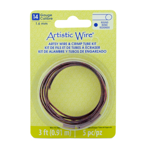 Artistic Wire, 14 Gauge (1.6 mm), Artsy Burgundy Color, 3 ft (0.91 m), with 5 AW Large Wire Crimp Connectors