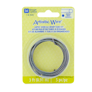 Artistic Wire, 14 Gauge (1.6 mm), Artsy Mauve Color, 3 ft (0.91 m), with 5 AW Large Wire Crimp Connectors
