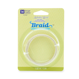 Artistic Wire, 14 Gauge (1.6 mm), Braid, Round, Tarnish Resistant Silver, 5 ft (1.5 m)