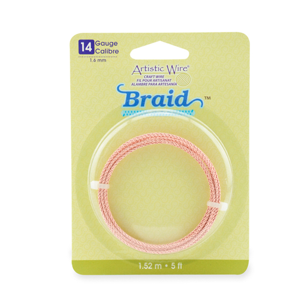 Artistic Wire, 14 Gauge (1.6 mm), Braid, Round, Rose Gold Color, 5 ft (1.5 m)