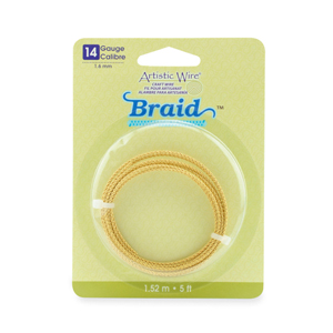 Artistic Wire, 14 Gauge (1.6 mm), Braid, Round, Tarnish Resistant Brass, 5 ft (1.5 m)