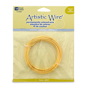 Artistic Wire, 14 Gauge (1.6 mm), Silver Plated, Gold Color, 25 ft (7.6 m)