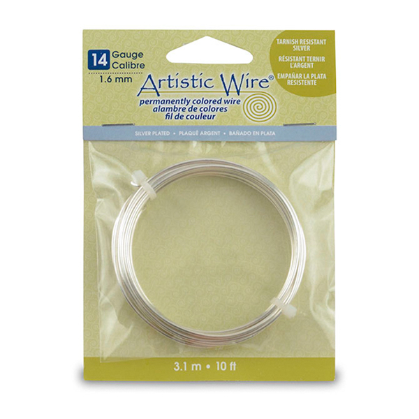Artistic Wire, 14 Gauge (1.6 mm), Silver Plated, Tarnish Resistant Silver, 10 ft (3.1 m)