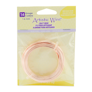 Artistic Wire, 14 Gauge (1.6 mm), Silver Plated, Rose Gold Color, 25 ft (7.6 m)