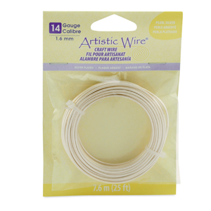 Artistic Wire, 14 Gauge (1.6 mm), Silver Plated, Pearl Silver, 25 ft (7.6 m)