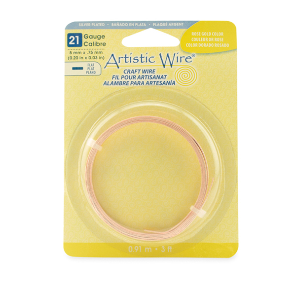 Artistic Wire, 21 Gauge, Flat, 5 mm x .75 mm (0.20 in x 0.03 in), Rose Gold Color, 3 ft (.91 m)