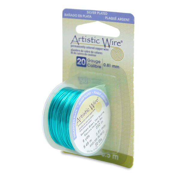 Artistic Wire, 20 Gauge (.81 mm), Silver Plated, Seafoam Green, 6 yd (5.5 m)