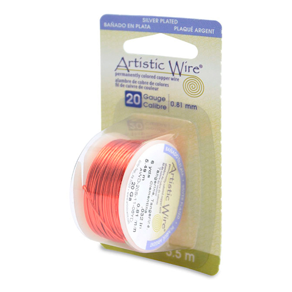 Artistic Wire, 20 Gauge (.81 mm), Silver Plated, Tangerine, 6 yd (5.5 m)