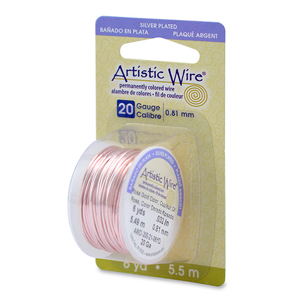 Artistic Wire, 20 Gauge (.81 mm), Silver Plated, Rose Gold Color, 6 yd (5.5 m)