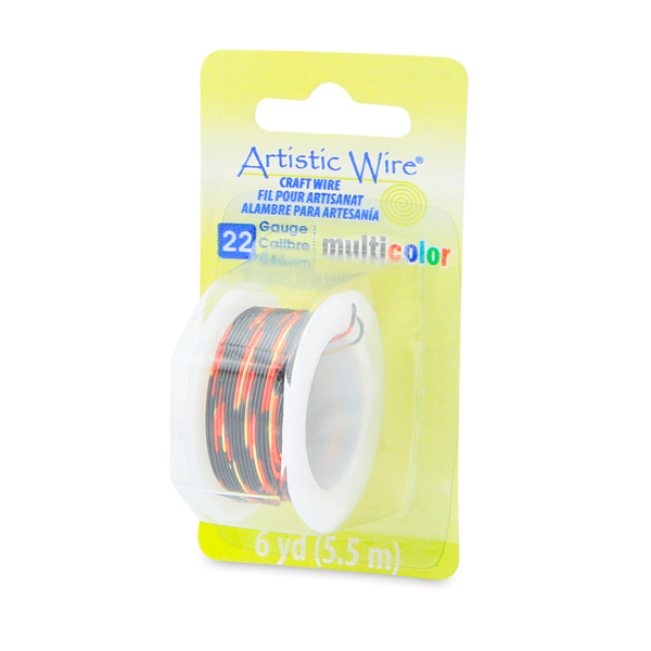 Artistic Wire, 22 Gauge (0.64 mm), Multicolor, Red, Gold, Black, 6 yd (5.5 m)