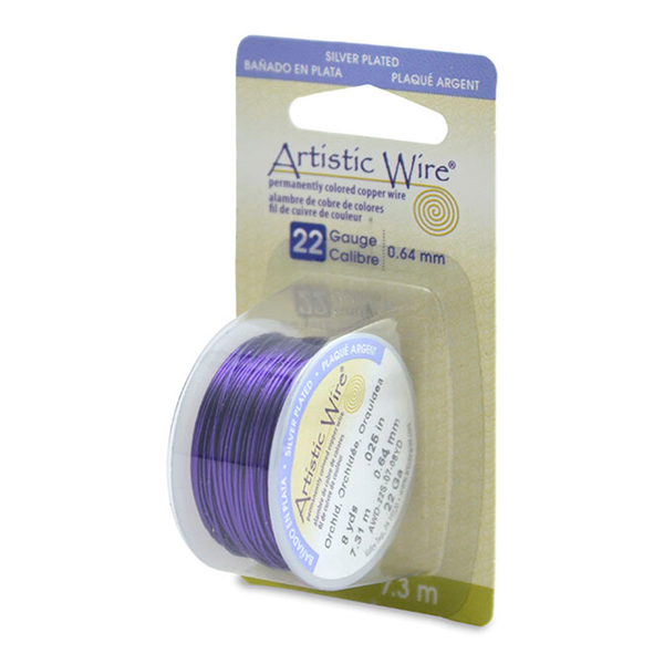 Artistic Wire, 22 Gauge (.64mm), Silver Plated, Orchid, 8 yd (7.3m)