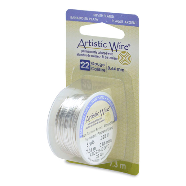 Artistic Wire, 22 Gauge (.64mm), Silver Plated, Tarnish Resistant Silver, 8 yd (7.3m)