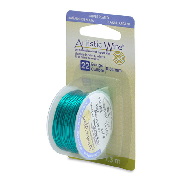 Artistic Wire, 22 Gauge (.64mm), Silver Plated, Christmas Green, 8 yd (7.3m)