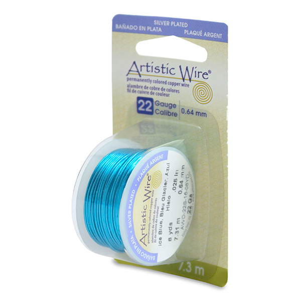Artistic Wire, 22 Gauge (.64mm), Silver Plated, Ice Blue, 8 yd (7.3m)