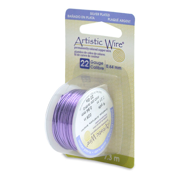 Artistic Wire, 22 Gauge (.64mm), Silver Plated, Amethyst, 8 yd (7.3m)