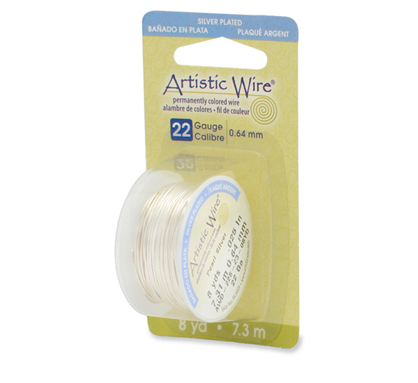 Artistic Wire, 22 Gauge (.64 mm), Silver Plated, Pearl Silver, 8 yd (7.3 m)