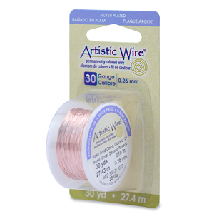 Artistic Wire, 30 Gauge (.26 mm), Silver Plated, Rose Gold Color, 30 yd (27.4 m)