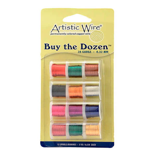 Artistic Wire, 28 Gauge (.32 mm), Buy-The-Dozen, Assorted Colors, 5 yd (4.5 m) each, 12 spools