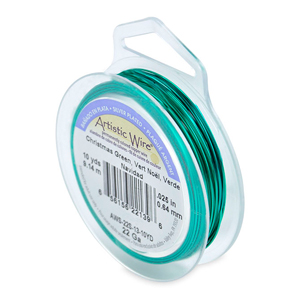 Artistic Wire, 22 Gauge (.64mm), Silver Plated, Christmas Green, 10 yd (9.1 m)