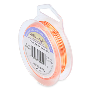 Artistic Wire, 24 Gauge (.51mm), Silver Plated, Peach, 15 yd (13.7 m)
