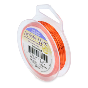 Artistic Wire, 28 Gauge (.32mm), Silver Plated, Tangerine, 40 yd (36.5m)