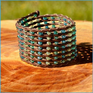 Leather and Crystal Cuff Bracelet