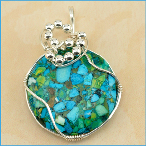 Blue Green Conglomerate Necklace