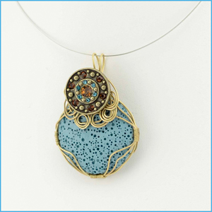 Blue Lava Pendant with Button Charm