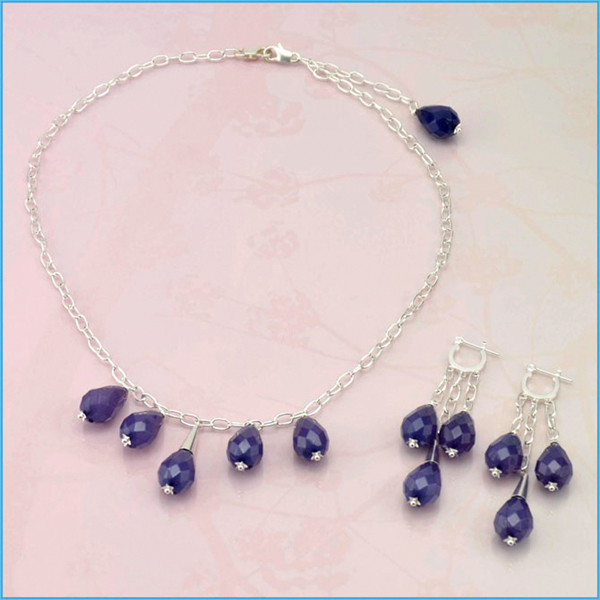 Blueberry Drops Necklace and Earrings