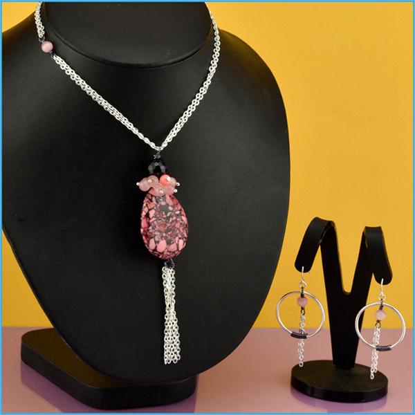 Magenta Tassel Necklace & Earrings