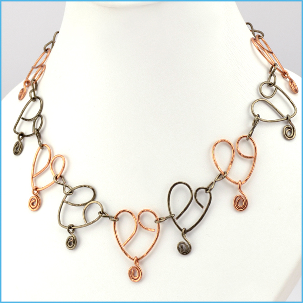 Wire Jewelry Making Tutorials - Hearts On A Wire Necklace