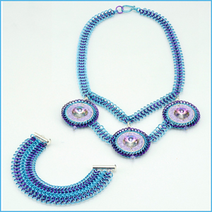Ice Blue and Orchid Chain Maille Necklace and Bracelet