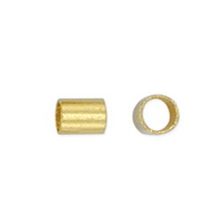 Crimp Tubes, Size #2, 1.3 mm (.051 in) I.D., 1.8 mm (.070 in) O.D., Gold Color, 1 oz (28.35 g), appx. 1,600 pc. Use Standard Crimper with wire 0.33 mm-0.61 mm (.013-.024 in).