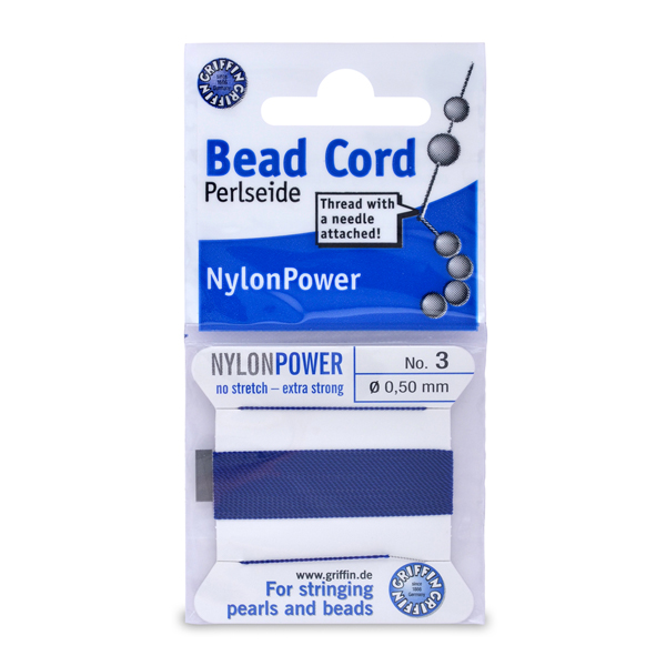 Polythread Size 03 (.50 mm, .020 in) - Dark Blue, with needle, 2 m (6.5 ft)