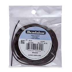 Leather, Greek, 2.0 mm (.079 in), Brown, 5 m (16.4 ft)