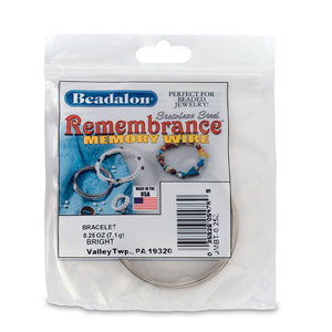 Remembrance Memory Wire, Round, Bracelet, Bright, 0.25 oz (7 g), appx 19 coils/pack